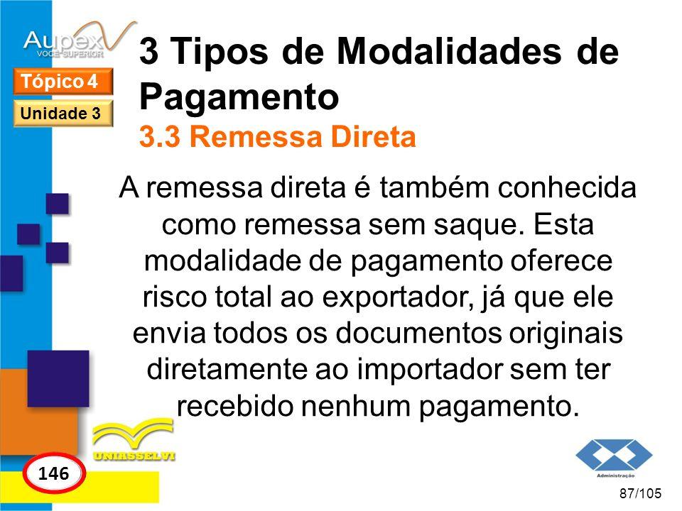 3 Tipos de Modalidades de Pagamento 3.3 Remessa Direta