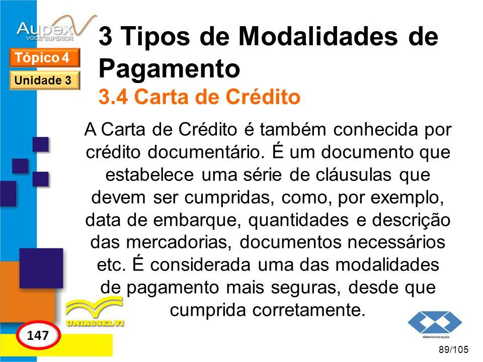 3 Tipos de Modalidades de Pagamento 3.4 Carta de Crédito