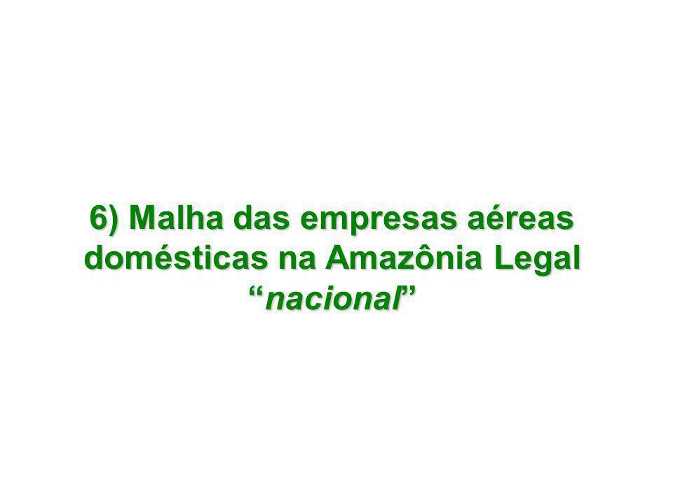 6) Malha das empresas aéreas domésticas na Amazônia Legal