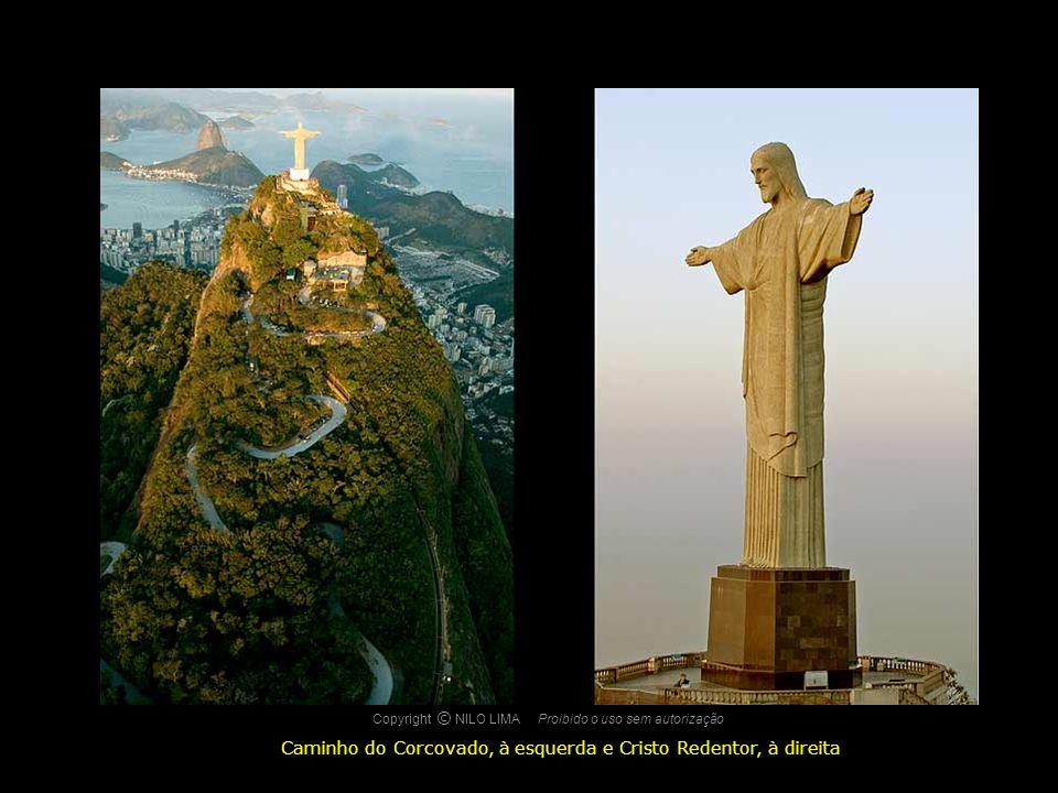 Caminho do Corcovado, à esquerda e Cristo Redentor, à direita