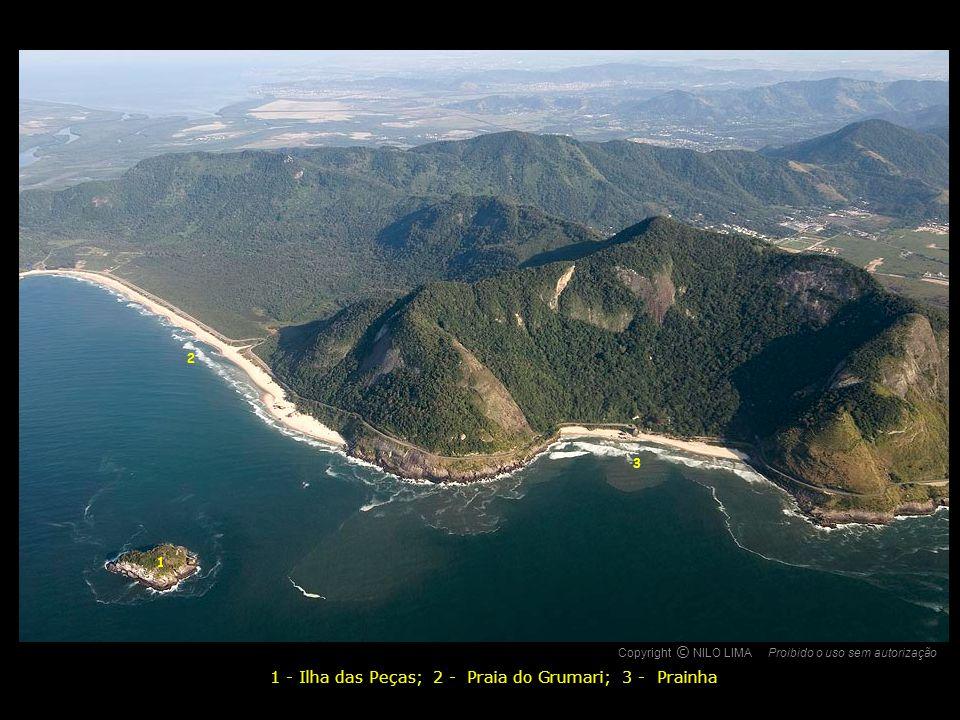 1 - Ilha das Peças; 2 - Praia do Grumari; 3 - Prainha
