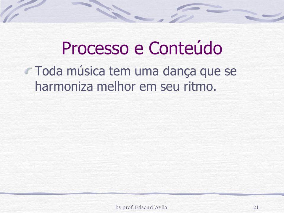 Processo e Conteúdo Toda música tem uma dança que se harmoniza melhor em seu ritmo.