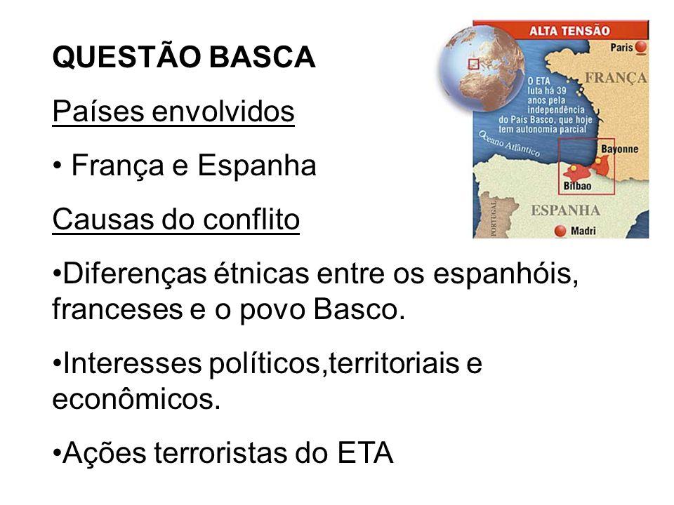 QUESTÃO BASCA Países envolvidos. França e Espanha. Causas do conflito. Diferenças étnicas entre os espanhóis, franceses e o povo Basco.