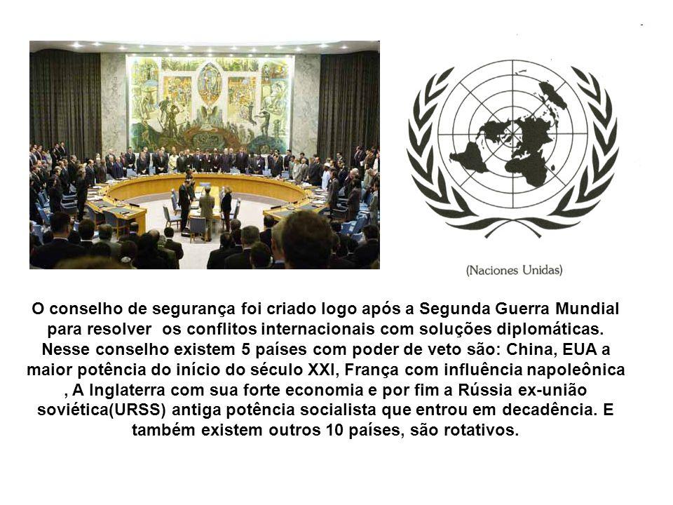 O conselho de segurança foi criado logo após a Segunda Guerra Mundial para resolver os conflitos internacionais com soluções diplomáticas.