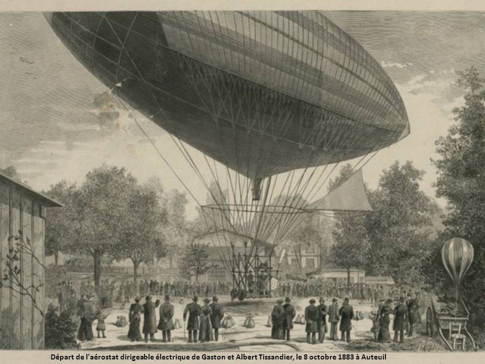 Départ de l aérostat dirigeable électrique de Gaston et Albert Tissandier, le 8 octobre 1883 à Auteuil