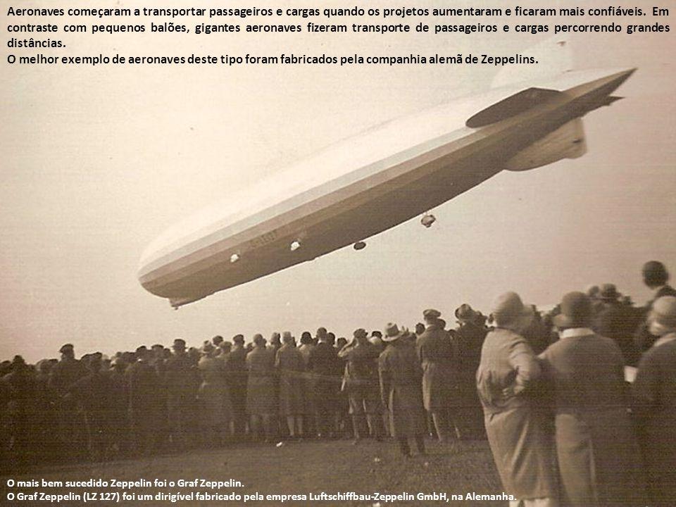 Aeronaves começaram a transportar passageiros e cargas quando os projetos aumentaram e ficaram mais confiáveis. Em contraste com pequenos balões, gigantes aeronaves fizeram transporte de passageiros e cargas percorrendo grandes distâncias.