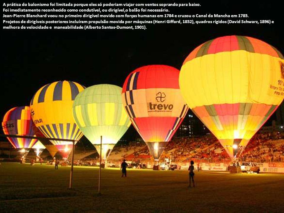 A prática do balonismo foi limitada porque eles só poderiam viajar com ventos soprando para baixo.