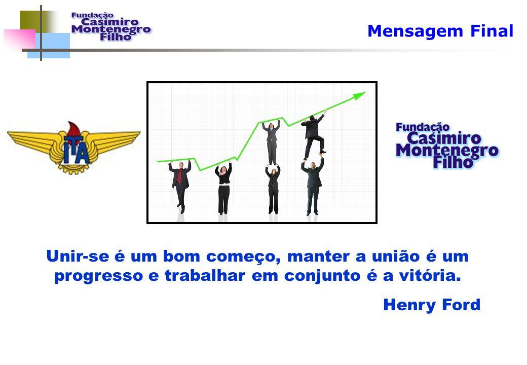 Mensagem Final Unir-se é um bom começo, manter a união é um progresso e trabalhar em conjunto é a vitória.