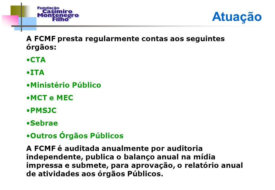 Atuação A FCMF presta regularmente contas aos seguintes órgãos: CTA