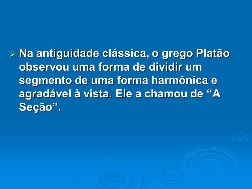 Na antiguidade clássica, o grego Platão observou uma forma de dividir um segmento de uma forma harmônica e agradável à vista.