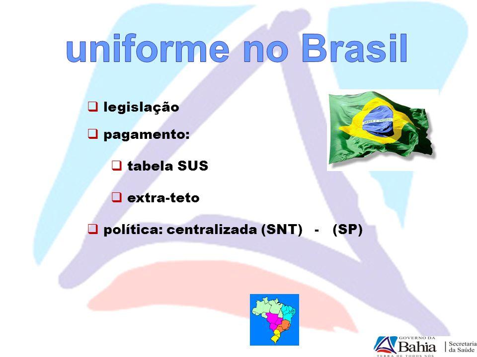 uniforme no Brasil legislação pagamento: tabela SUS extra-teto