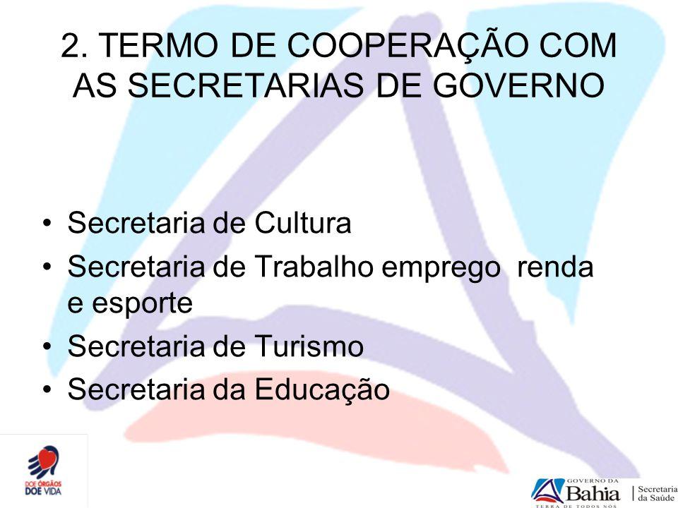 2. TERMO DE COOPERAÇÃO COM AS SECRETARIAS DE GOVERNO