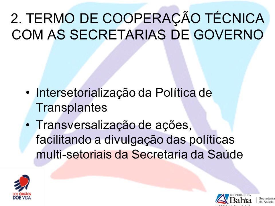 2. TERMO DE COOPERAÇÃO TÉCNICA COM AS SECRETARIAS DE GOVERNO
