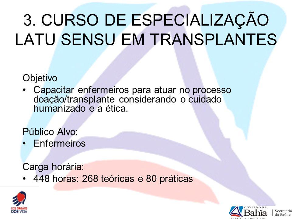 3. CURSO DE ESPECIALIZAÇÃO LATU SENSU EM TRANSPLANTES