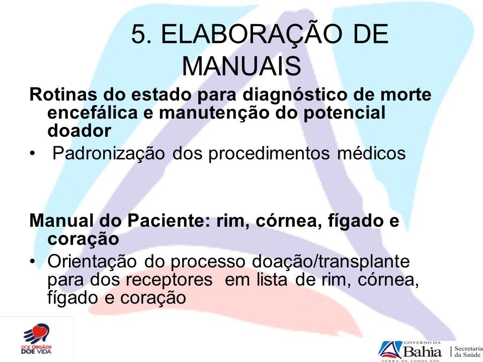 5. ELABORAÇÃO DE MANUAIS Rotinas do estado para diagnóstico de morte encefálica e manutenção do potencial doador.