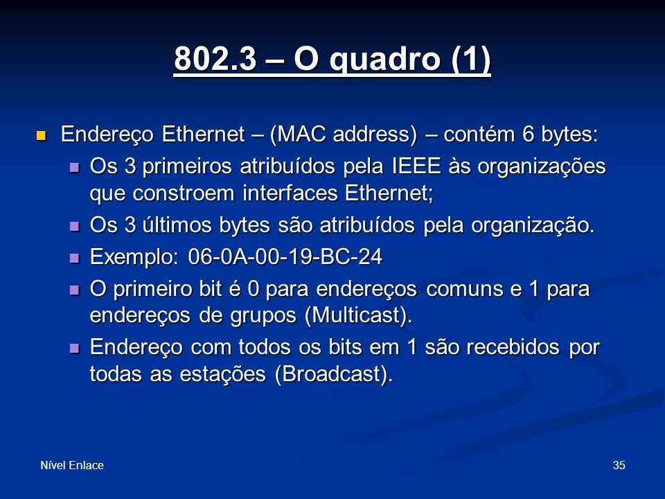 802.3 – O quadro (1) Endereço Ethernet – (MAC address) – contém 6 bytes: