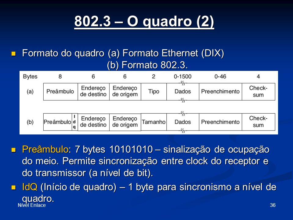 802.3 – O quadro (2) Formato do quadro (a) Formato Ethernet (DIX) (b) Formato 802.3. (as 2 maneiras podem ser usadas pois muito difundidas)