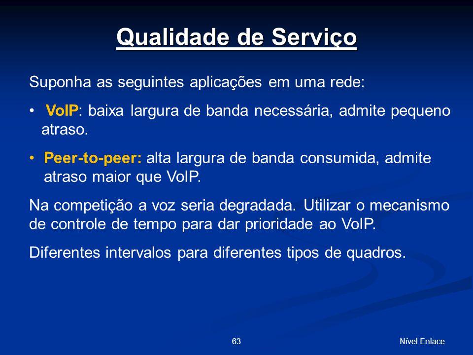 Qualidade de Serviço Suponha as seguintes aplicações em uma rede: