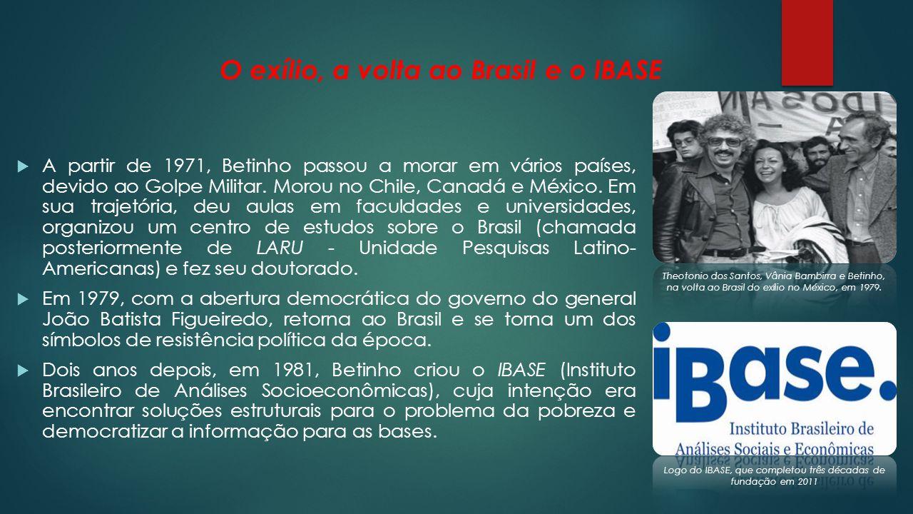 O exílio, a volta ao Brasil e o IBASE