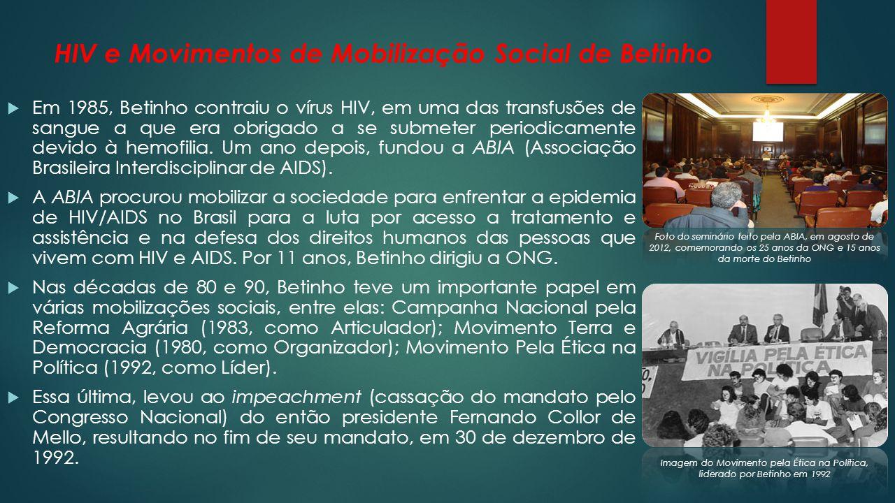 HIV e Movimentos de Mobilização Social de Betinho