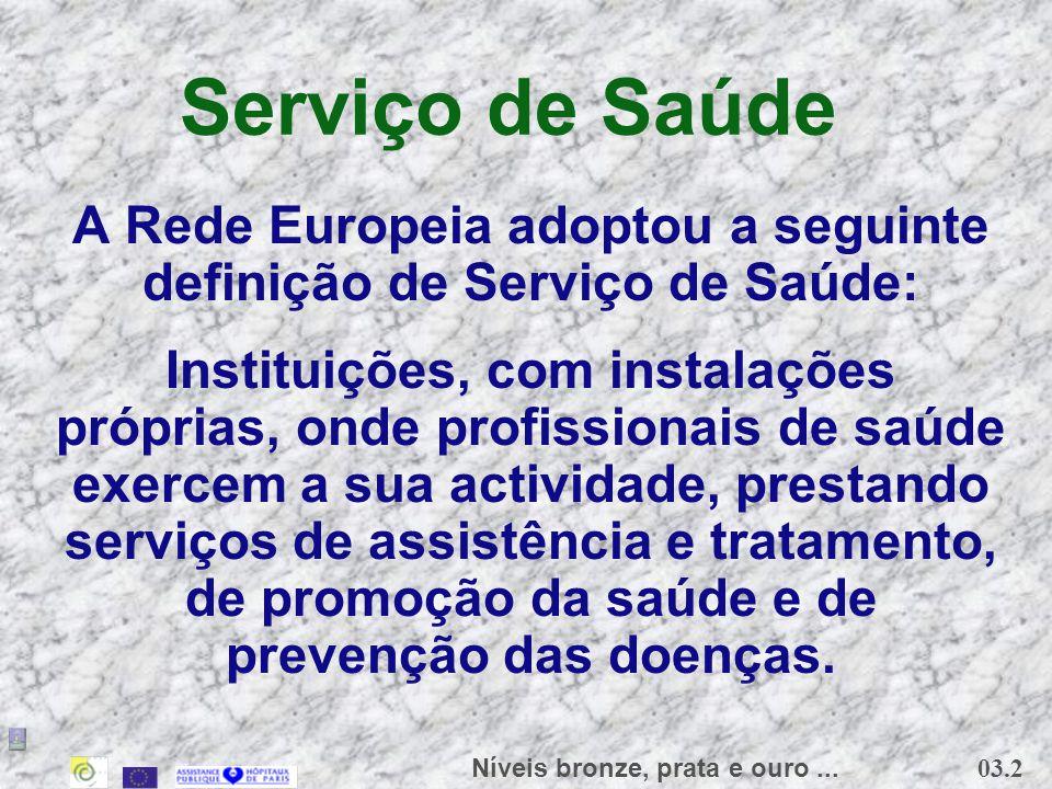 A Rede Europeia adoptou a seguinte definição de Serviço de Saúde: