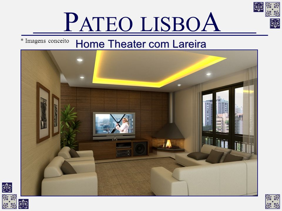 Home Theater com Lareira