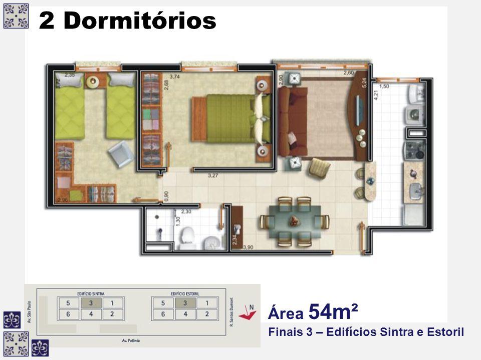 2 Dormitórios Área 54m² Finais 3 – Edifícios Sintra e Estoril