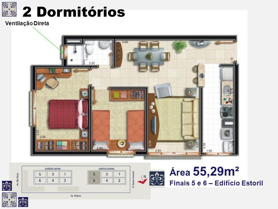2 Dormitórios Área 55,29m² Finais 5 e 6 – Edifício Estoril