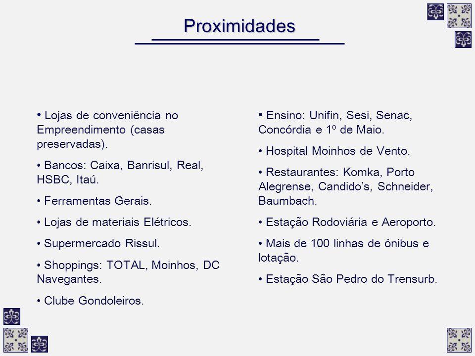 Proximidades Lojas de conveniência no Empreendimento (casas preservadas). Bancos: Caixa, Banrisul, Real, HSBC, Itaú.