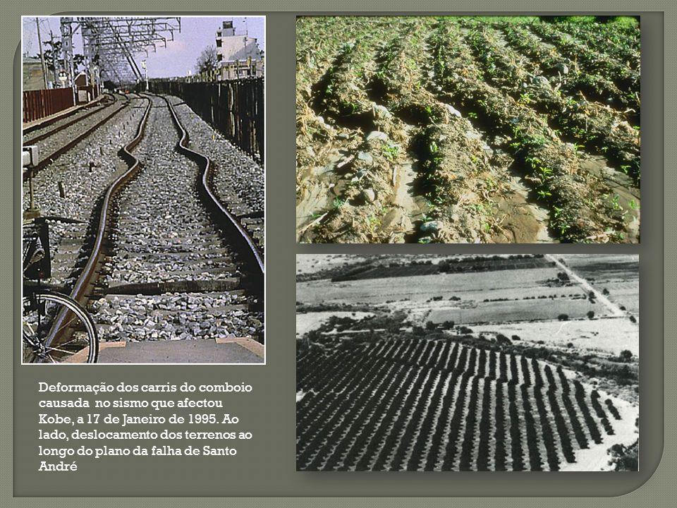 Deformação dos carris do comboio causada no sismo que afectou Kobe, a 17 de Janeiro de 1995.