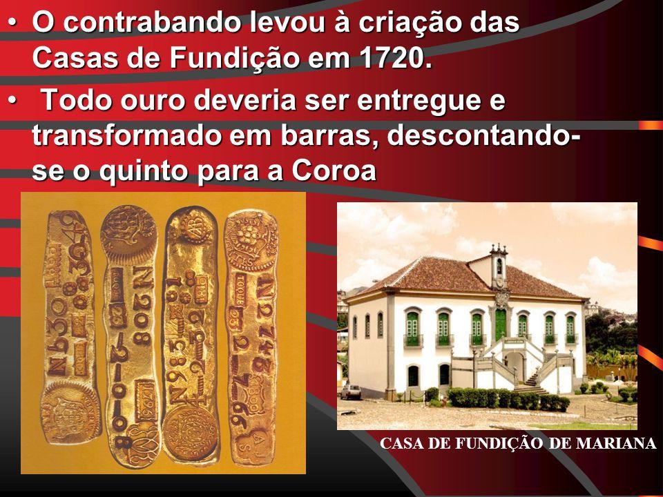 O contrabando levou à criação das Casas de Fundição em 1720.
