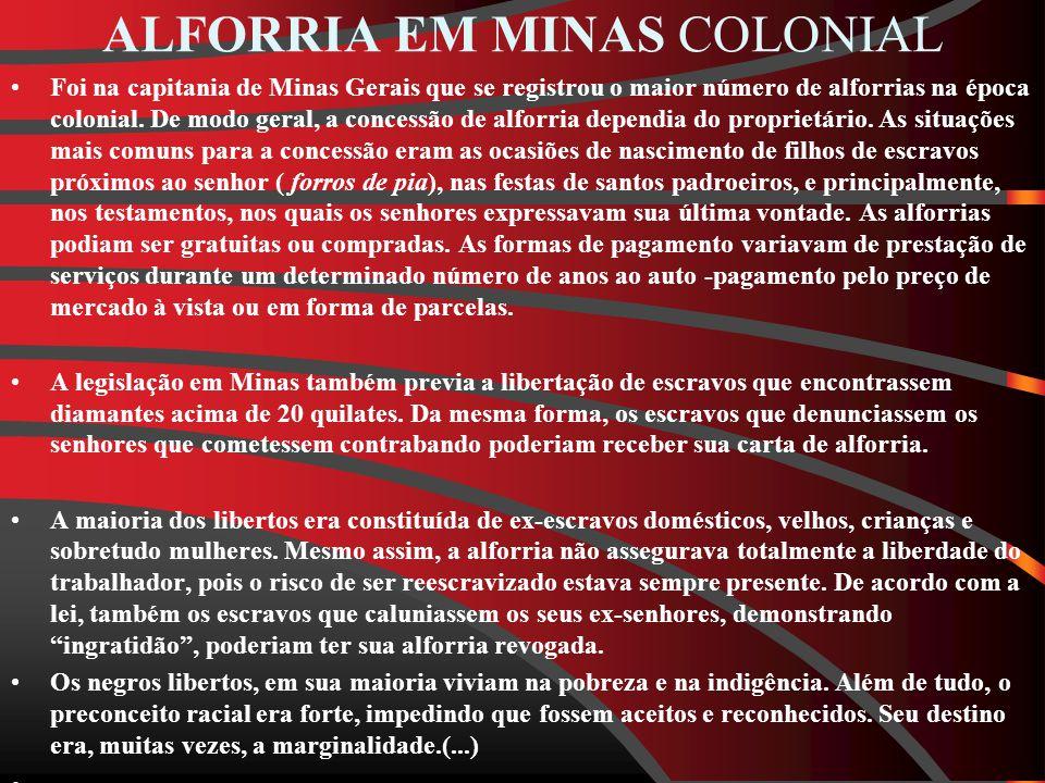 ALFORRIA EM MINAS COLONIAL