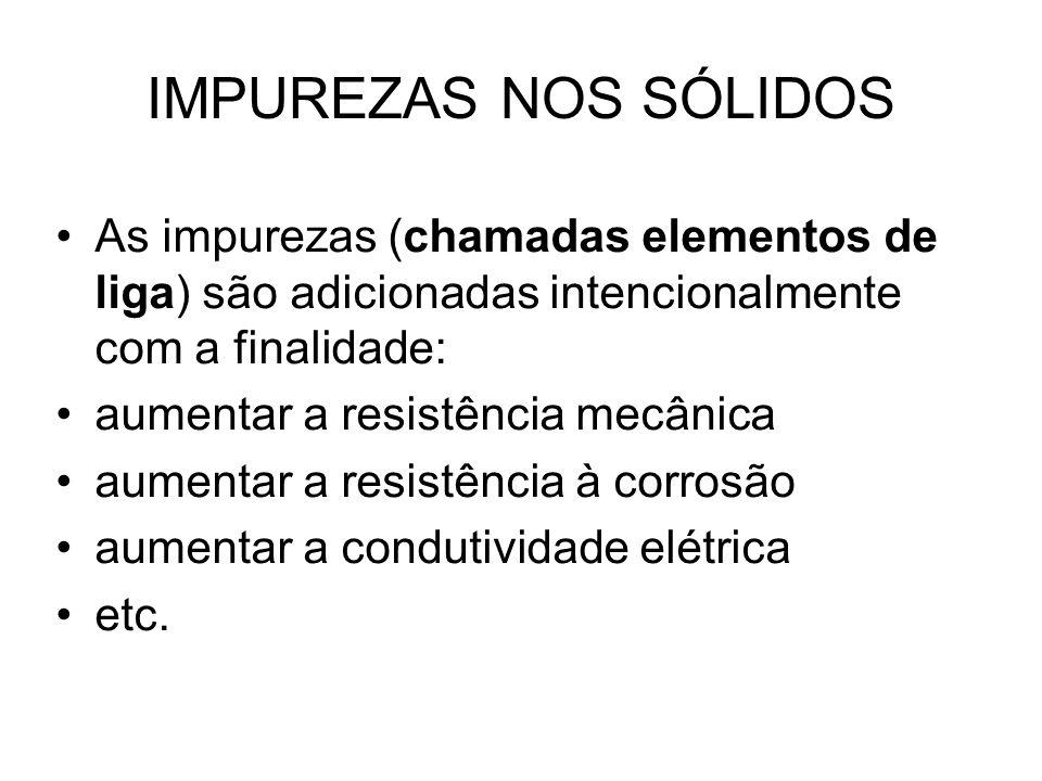 IMPUREZAS NOS SÓLIDOS As impurezas (chamadas elementos de liga) são adicionadas intencionalmente com a finalidade: