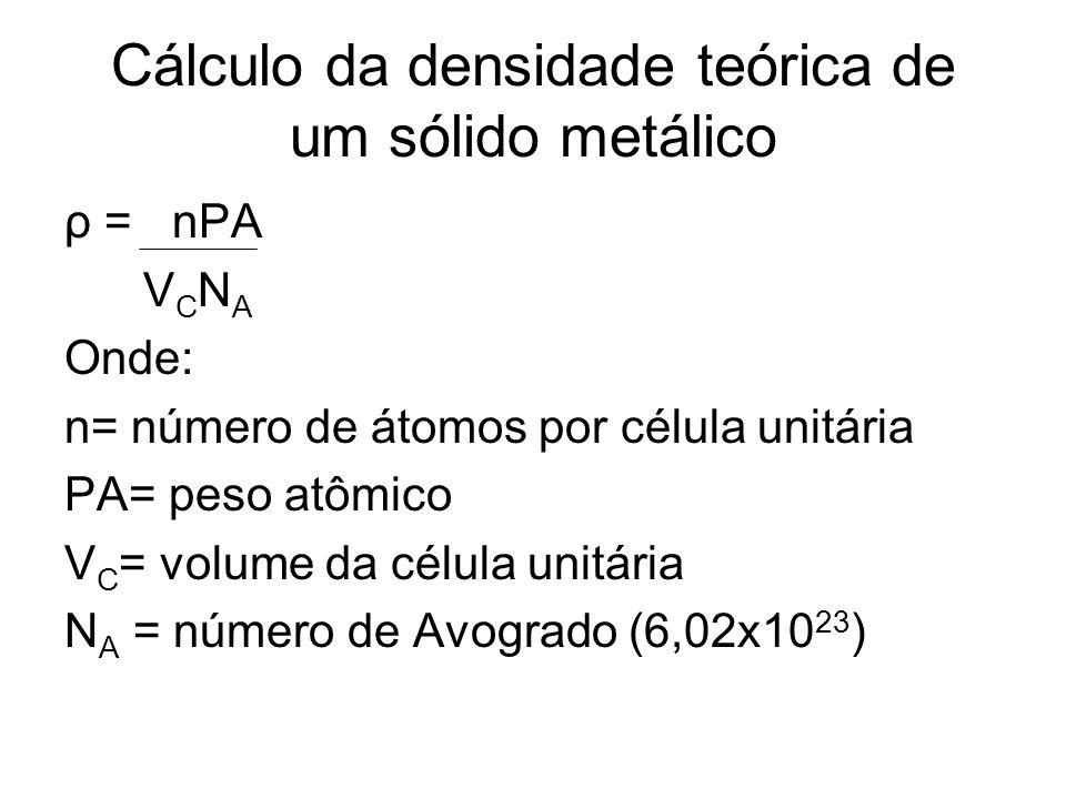 Cálculo da densidade teórica de um sólido metálico