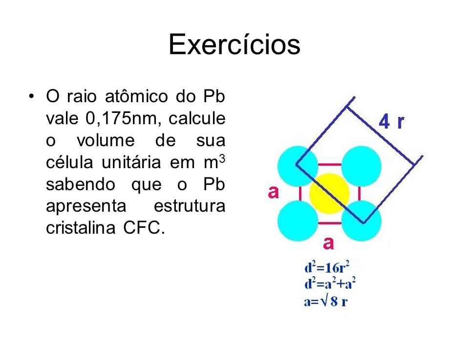 Exercícios O raio atômico do Pb vale 0,175nm, calcule o volume de sua célula unitária em m3 sabendo que o Pb apresenta estrutura cristalina CFC.