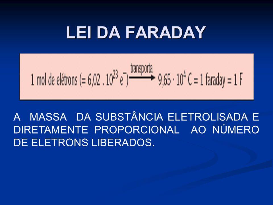LEI DA FARADAY A MASSA DA SUBSTÂNCIA ELETROLISADA E DIRETAMENTE PROPORCIONAL AO NÚMERO DE ELETRONS LIBERADOS.