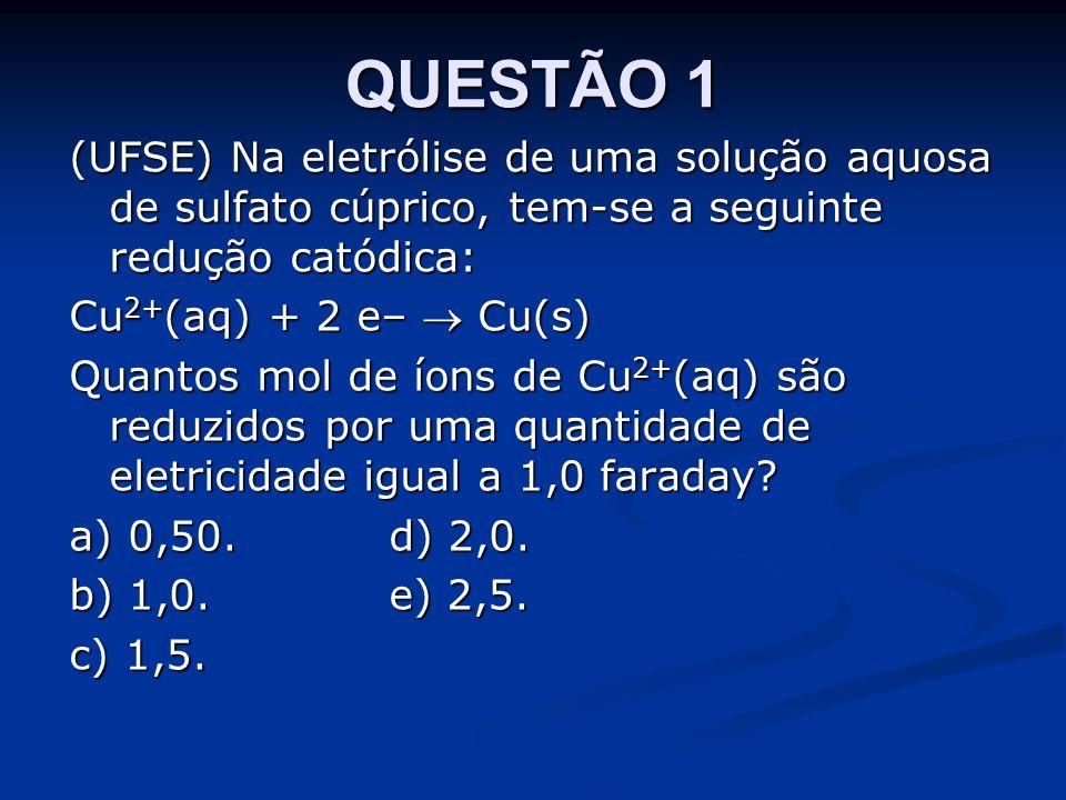 QUESTÃO 1 (UFSE) Na eletrólise de uma solução aquosa de sulfato cúprico, tem-se a seguinte redução catódica:
