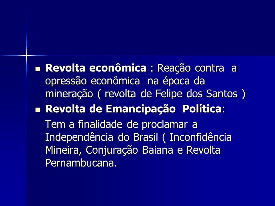 Revolta econômica : Reação contra a opressão econômica na época da mineração ( revolta de Felipe dos Santos )