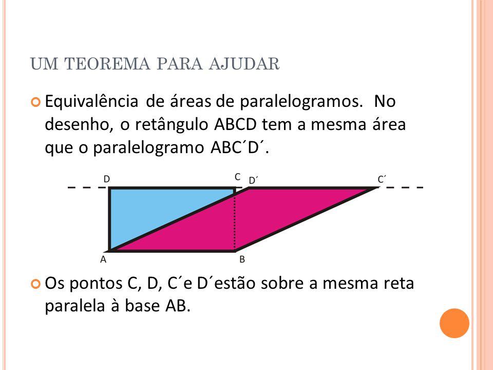 um teorema para ajudar Equivalência de áreas de paralelogramos. No desenho, o retângulo ABCD tem a mesma área que o paralelogramo ABC´D´.
