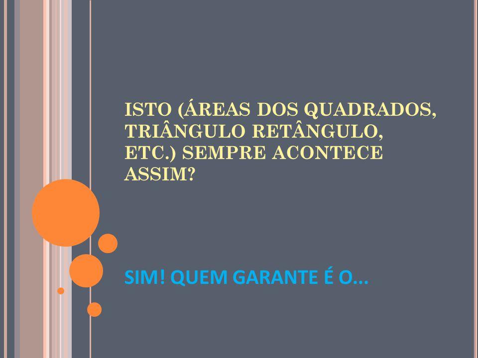 ISTO (ÁREAS DOS QUADRADOS, TRIÂNGULO RETÂNGULO, ETC