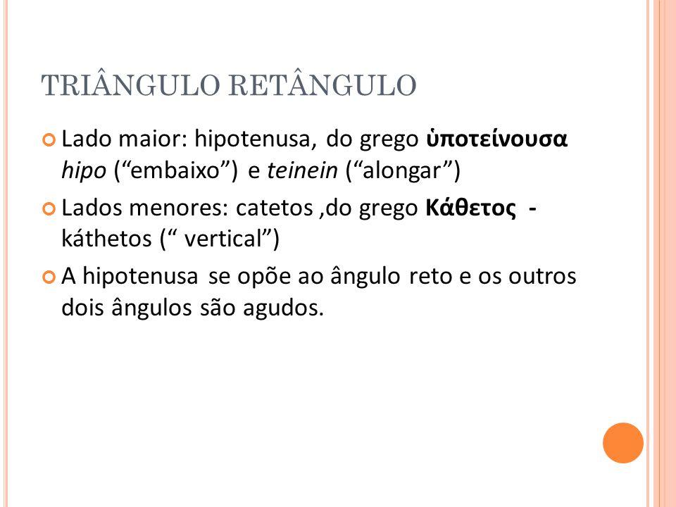 TRIÂNGULO RETÂNGULO Lado maior: hipotenusa, do grego ὑποτείνουσα hipo ( embaixo ) e teinein ( alongar )