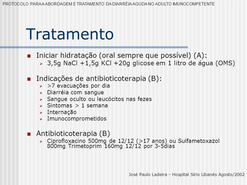 Tratamento Iniciar hidratação (oral sempre que possível) (A):