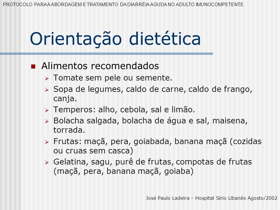 Orientação dietética Alimentos recomendados
