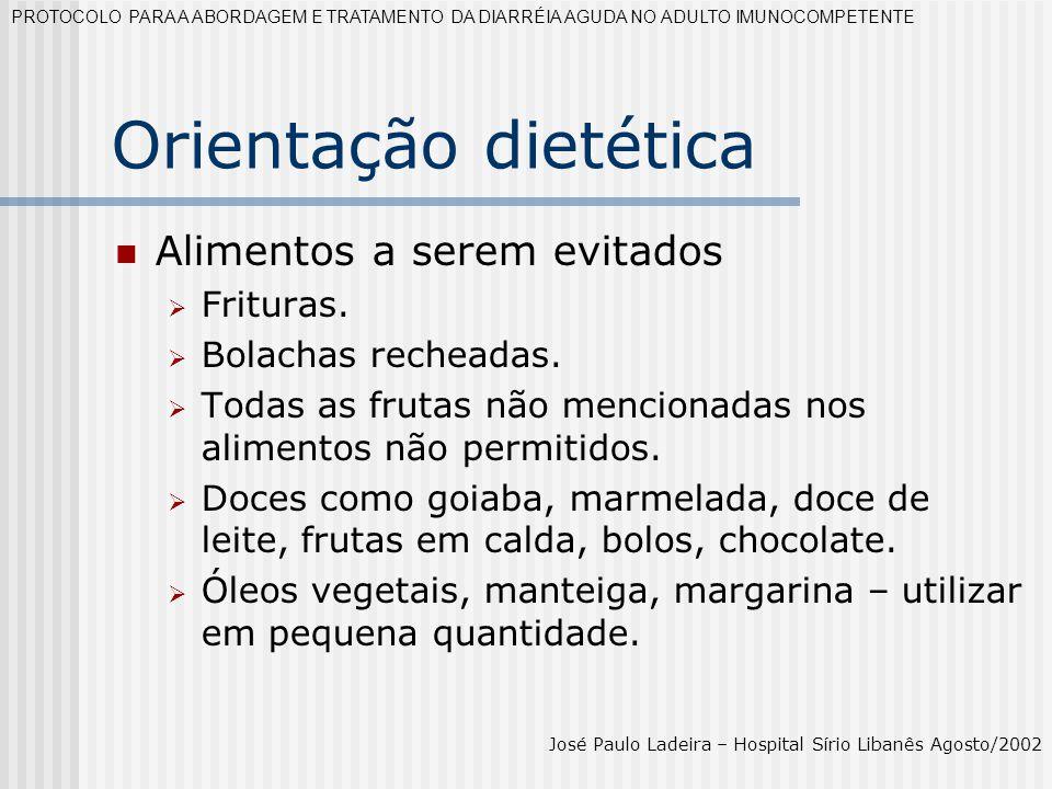 Orientação dietética Alimentos a serem evitados Frituras.