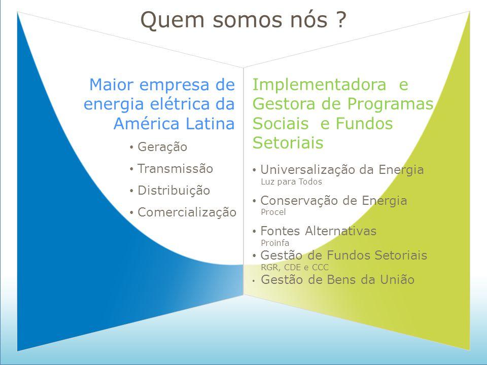 Quem somos nós Maior empresa de energia elétrica da América Latina