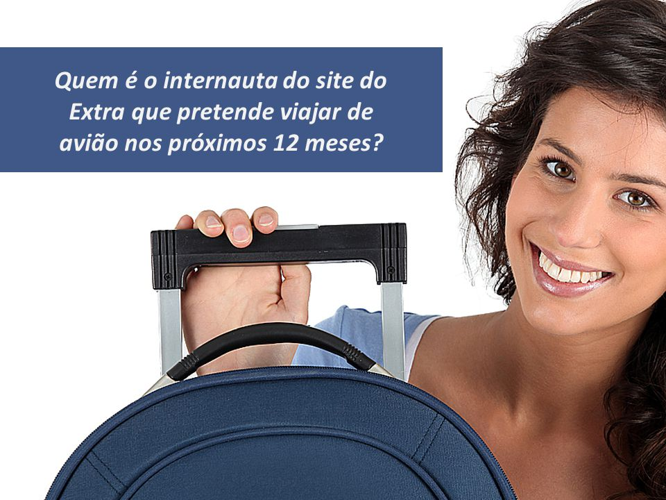 Quem é o internauta do site do Extra que pretende viajar de avião nos próximos 12 meses