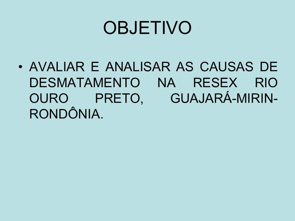 OBJETIVO AVALIAR E ANALISAR AS CAUSAS DE DESMATAMENTO NA RESEX RIO OURO PRETO, GUAJARÁ-MIRIN- RONDÔNIA.