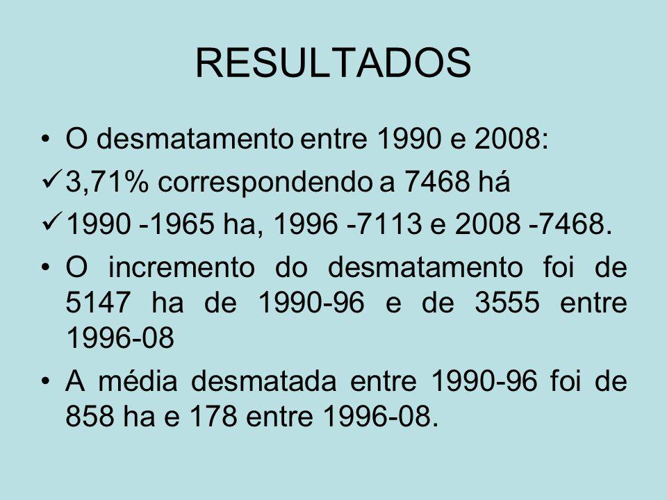 RESULTADOS O desmatamento entre 1990 e 2008:
