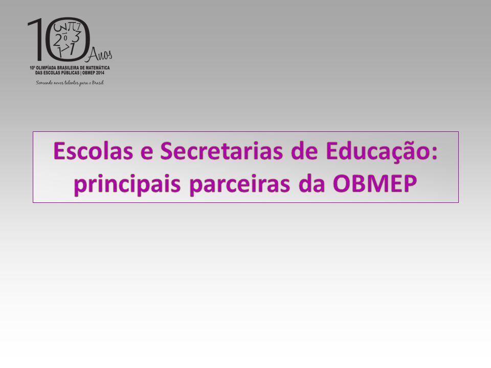 Escolas e Secretarias de Educação: principais parceiras da OBMEP