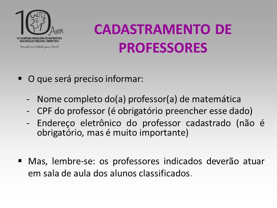 CADASTRAMENTO DE PROFESSORES